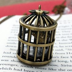 Birdcage/ clock/ necklace/ thing. There's a clock on the bottom, which all together looks pretty cool.