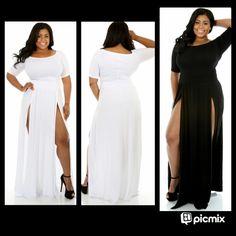 Trendy Celebrity Double Side Slits Split Long T Shirt Maxi Dress