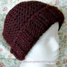 Here's an easy knit hat pattern that's fun knitting. With simple shaping, ribbing and knitting garter stitch this quick knit hat will be finished in no time