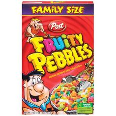 Fruity Pebbles Cereal. Most cereal is an acceptable meal sometimes, but Fruity Pebbles is one of my favorites.