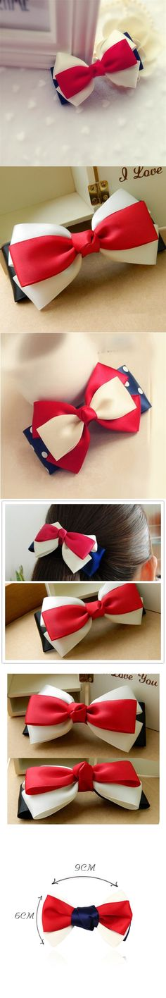 Korea Style New Arrival 3 Big Solid Cloth Color Bows Hair Clips Hairpins Hair Accessories for Women Girl Party Headwear Jewelry