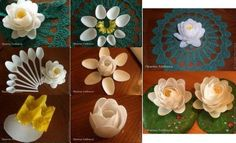 hacer flor con cucharas desechables
