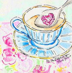 Lilly--love in a teacup January 2013 5x5 watercolor