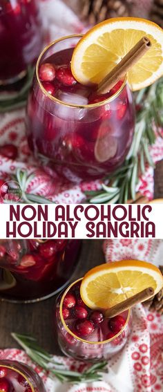This non alcoholic Christmas sangria is the perfect holiday drink packed with fresh cranberries, and orange slices, it's a great holiday party drink, or even for Christmas dinner! This Christmas sangria is the perfect drink Christmas Sangria, Christmas Berries, Holiday Drinks, Party Drinks, Christmas Deco, Holiday Ideas, Non Alcoholic Sangria, Alcohol Recipes, Drinks Alcohol
