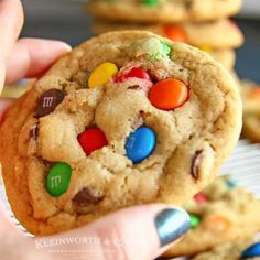 This MM Cookie Recipe is AMAZING. No chill time needed, these soft chewy cookies are great for parties, potlucks, gift-giving afternoon treats. Cowboy Cookie Recipe, M&m Cookie Recipe, Sugar Cookies Recipe, Cookie Recipes, Dessert Recipes, Candy Recipes, Recipe Box, Dessert Ideas, Baking Recipes