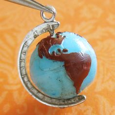 Vintage Glass Bead World Globe Sterling Silver Charm Moves