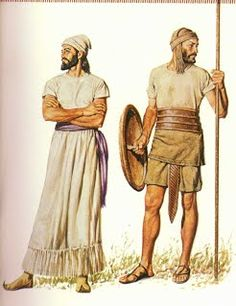 Israelite builder/guard: the guy on the right - simple defense, but different from the builders. Like the sandals, weapons and leather belt