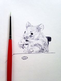 Illustration of a hamster drinking coffee in a by ShirleyHarveyArt