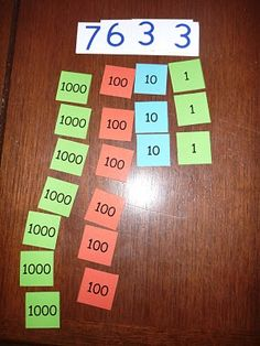 Visual representations for place value - could easily adapt for first with smaller numbers.