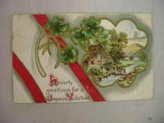 Vintage Embossed Christmas Postcard Lady On Footbridge Over Stream 1908
