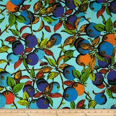 The Garden of Earthly Delights Calypso Blue from @fabricdotcom  Designed by Studio KM for Free Spirit, this fabric is perfect for quilting, apparel and home decor accents. Colors include indigo, turquoise, aqua, orange, yellow, black, and green.