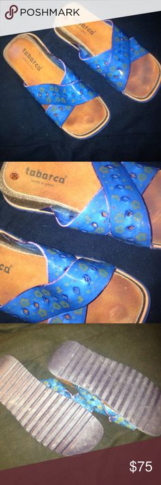TABARCA  TEAL AND GREEN FLOWERS SIZE 36 TABARCA  TEAL AND GREEN FLOWERS SIZE 36 Vintage Shoes Sandals
