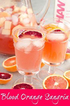 Blood Orange Sangria Blood Orange Sangria is an easy and delicious citrus cocktail! via greens & chocolate Sangria Recipes, Margarita Recipes, Cocktail Recipes, Drink Recipes, Blood Orange Sangria, Peach Sangria, Vodka Sangria, Orange Vodka, Vodka Lime