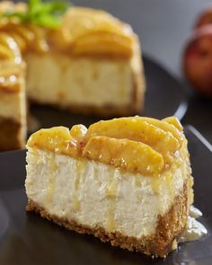A classic cheesecake has been elevated with Golden Peach topping. Peach Cheesecake, Classic Cheesecake, Cheesecake Recipes, Dessert Recipes, Homemade Cheesecake, Sweet Desserts, Just Desserts, Sweet Recipes, Delicious Desserts