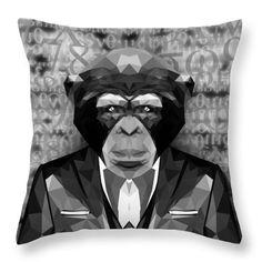Abstract Ape Throw Pillow by Filip Aleksandrov Animal Print Pillows Stylish Pillows Classy Pillows