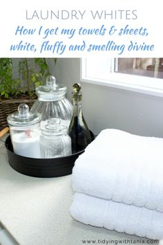how to keep your towels and sheets crisp white and with a beautiful scent tips tips and tricks tips for big families tips for hard water tips for towels Yellow Towels, White Towels, White Linens, Tips And Tricks, Cleaning White Sheets, At Home With Nikki, Linen Spray, Have A Shower, Distilled White Vinegar