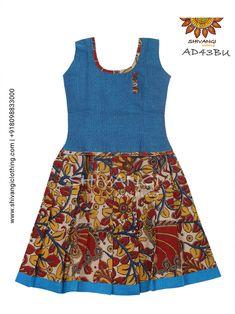 Trendy kalamkari Cotton Pattu Pavadai Sleeves are attached inside separately. Long Dress Design, Girls Frock Design, Kids Frocks Design, Baby Frocks Designs, Frock Patterns, Kids Dress Patterns, Sewing Patterns, Cotton Frocks For Girls, Girls Frocks