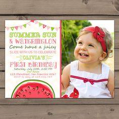 Watermelon Birthday invitation Sunshine Summer First Birthday Party Invite Summer Sun Watermelon Days Pink Green Digital printable ANY AGE by Anietillustration on Etsy https://www.etsy.com/listing/234738157/watermelon-birthday-invitation-sunshine