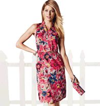 """Printed Woven Dress, It's a sleeveless, button-front multi-color floral print dress with stretch waist and patch pockets (on chest). The skirt portion of the dress is lined. Goes great with the Floral Printed Tote Bag, the Indigo Zipperback Wedge, and the Embellished Denim Jacket.  • 100% cotton voile • Length from highest point of shoulder/front: 38-1/2"""" http://www.youravon.com/zweinberg"""