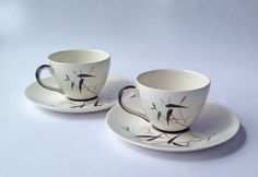Pair of Royal Doulton Espresso / Demitasse Cups and Saucers Bamboo D6466 by gardenfullofVintage on Etsy