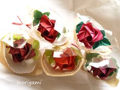 5 Origami Roses Each Wrapped / Welcome Gift / by Inorigami on Etsy