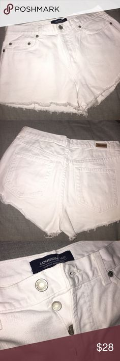 White Denim Shorts No stretch to them! In perfect condition with 4 buttons. Size 6 London Jeans London Jeans Shorts Jean Shorts