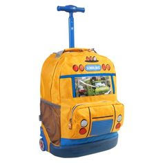 J World School Bus Rolling Backpack - Yellow School Bags With Wheels 44a86ed1eb1ba