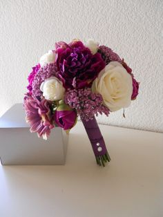 Items Similar To Purple Sangria Lavender Pink And Ivory Bridal Bouquet With Matching Bout On Etsy
