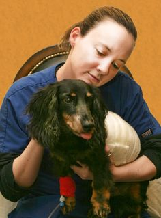 Chantelle, our vet tech. She is illustrating hospice care.