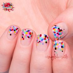 """Was inspired by a design from @iscreamnails for this one! Negative space confetti nails!  They're so easy to do and such a cool effect! Finished with…"""
