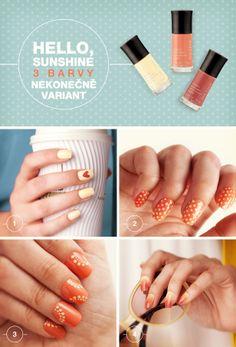 Laky na nehty vybízí k tvorbě! Nejde zdaleka jen o pokrytí nehtů vrstvou barvy. Hrajte si a vytvořte originální vzory, které zaujmou. Krásné kombinace vytvoříte s laky z kolekce Hello, Sunshine! PS. Už znáte nový trend Ombré?