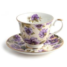Teacup and Saucer Set - Purple Pansy Bouquet   Queen Mary Tea
