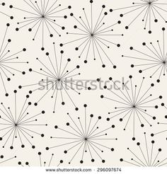 Vector seamless pattern. Stylish tileable swatch. Monochrome hipster print, background with stylized dandelions or fireworks. Modern graphic design.