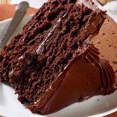 This devils food cake uses two 8 inch round cakes and is topped with a rich chocolate frosting and a hint of caramel in the center.