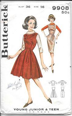 BUTTERICK 9908 Size 16 Bust 36 Vintage 1960's Jumper Dress Blouse Pleated Skirt Slim Pencil Skirt Sl