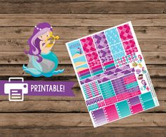 Mermaid Planner Stickers - Printable Planner Stickers Mermaid themed Printable…