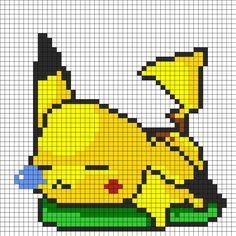 Sleepy Pikachu Perler Bead Pattern | Bead Sprites | Characters Fuse Bead Patterns