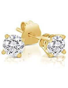 0.36 cttw 14k Yellow or Rose Goldplate Sterling Silver Round 3mm Golden Yellow CZ Stud Earrings
