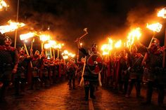 Up Helly Aa Fire Festival in Edinburgh, Scotland at the end of January. This one is about as insane as you'd expect a celebration of the Viking New Year to be; people dress up as Viking warriors, go tar-barreling, storm around with torches, drinking heavily, and eventually, burn a replica Viking ship.