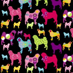 May have to invest in this.....  Pug fabric, pug goes colors fabric by lilly-allerlei on Spoonflower - custom fabric
