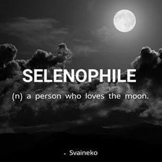 "You can describe me with just one word ""selenophile"""