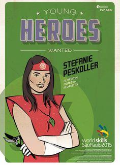 Für die Berufsweltmeisterschaft in SAO PAOLO - BRASILIEN entstand die illustrierte Kampagne YOUNG HEROES WANTED. Mehr unter: www.rotwild.it/blog Web Design, Comic Books, Blog, Italia, Brazil, Design Web, Blogging, Comic Book, Comics
