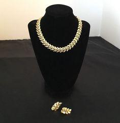 Vtg Crown Trifari Goldtone Leaf Leaves Choker Necklace Matching Clip Earrings  | eBay