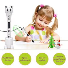Amazon.com: 3D Pen for Kids - Dikale 05A (2017 Newest Design) 3D Doodler Drawing Printing Pen with OLED Display, 2 Free PLA Filament, 20 Stencils, Best Christmas Gifts and Toys for Boys, Girls & Adults: Toys & Games Last Minute Christmas Gifts, Best Christmas Gifts, Christmas Fun, 3d Pen, Kids Prints, Baby Shop, Toys For Boys, Stencils, Printing