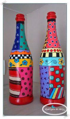 Bottles Decoration Ideas Fresh 20 Luxury Design for Painting Ideas Glass Glass Bottle Crafts, Wine Bottle Art, Painted Wine Bottles, Painted Jars, Painted Wine Glasses, Bottles And Jars, Glass Bottles, Decorated Bottles, Altered Bottles