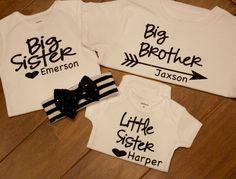 big sister Shirt big brother Shirt little sister by PurpleAspen Sibling Shirts, Kids Shirts, T Shirts For Women, Monogram Shirts, Baby Monogram, Little Brothers, Little Sisters, Big Sister Big Brother Shirts, Linen Pants Outfit