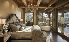 Rustic, elegant master bedroom in a mountain home.