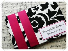 Black White and Fuchsia Wedding Guest Book made to by ModernShabby, $37.00