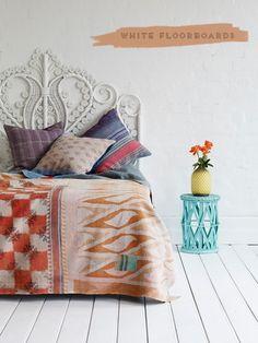 Wicker headboard from The Family Love Tree (via design*sponge) Home Bedroom, Bedroom Decor, Bedroom Ideas, Bedroom Inspiration, Aztec Bedroom, Warm Bedroom, Bedroom Table, Bedroom Simple, Bedroom Designs
