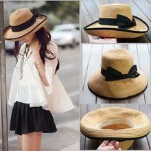 Novas mulheres verão 2015 moda mulheres Bowknot chapéu de palha chapéus de sol para mulheres Roll - up guarnição fita Headwear(China (Mainland))
